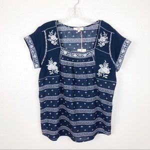 NWT Entro Boho Blue White Embroidered Top S
